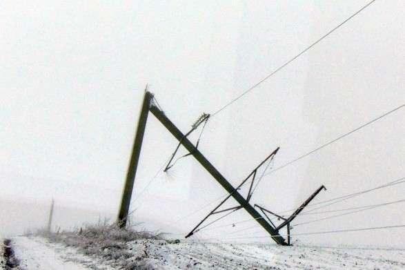 В Україні через негоду знеструмлено 397 населених пунктів